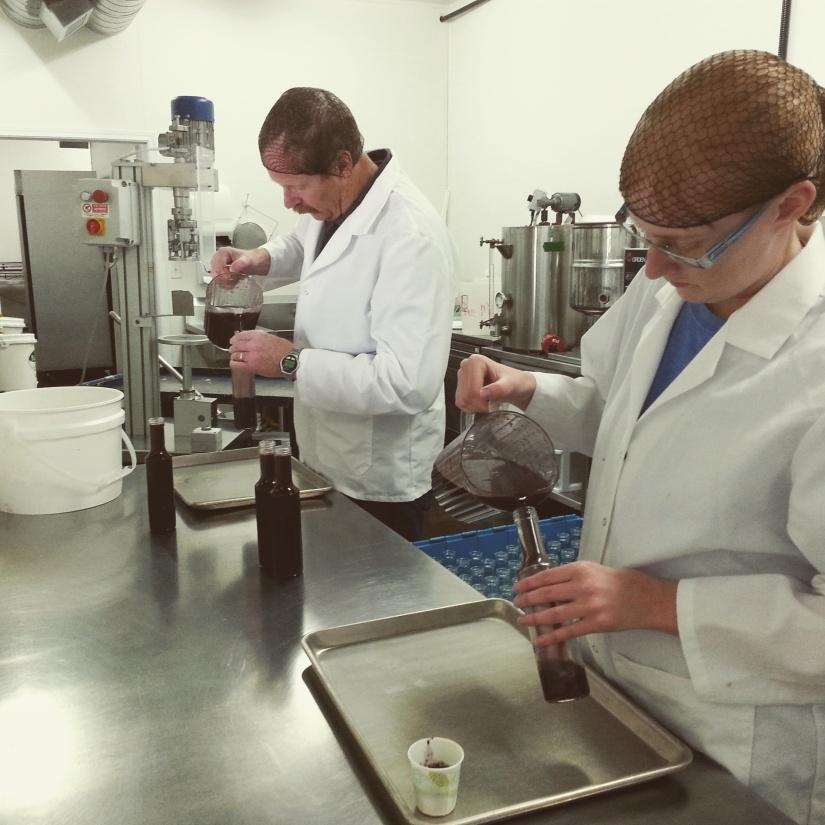 Beary Berry Honey Kitchen \ Sam and Amanda Bottling Moroccan Blueberry Vinaigrette